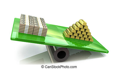 Heap of gold bars on a scale with dollars