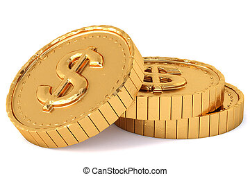 heap of gold coins with dollar sign.