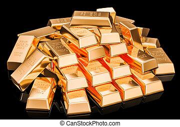 Heap of golden ingots on black background, 3D rendering