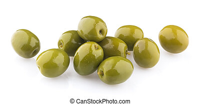 Heap of green olives isolated on white background. Top view