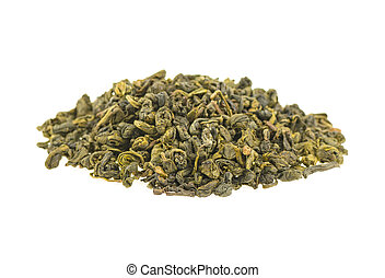 heap of green tea on a white background, isolated.