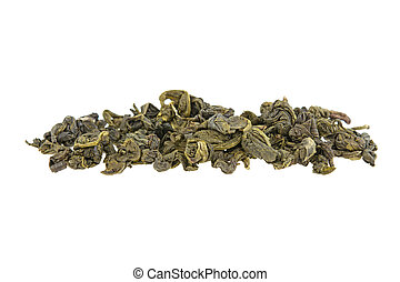 heap of green tea on a white background isolated