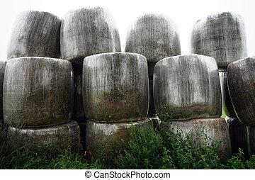Heap of hay rolls