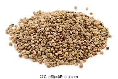 Heap of hemp seeds.