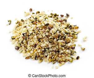heap of hemp seeds isolated on white