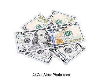 Heap of hundred dollar banknotes.