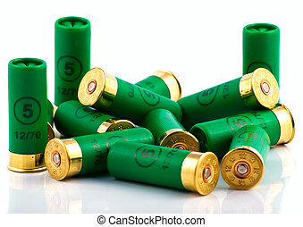 Heap of hunting cartridges for shotgun 12 caliber
