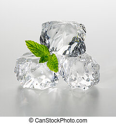heap of ice cubes with mint