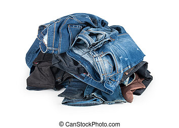 heap of jeans isolated on white background