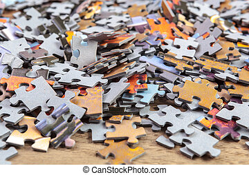 Heap of Jigsaw Puzzle Pieces