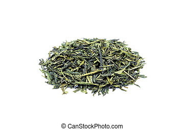 Heap of loose green tea Sencha isolated on white background