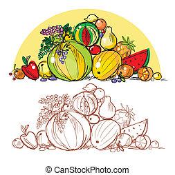 Heap of multi-coloured fresh fruit