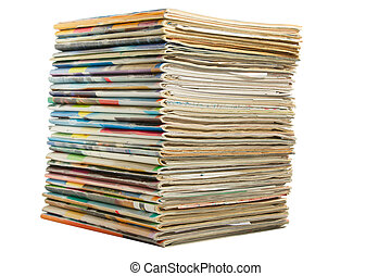 Heap of multi-coloured old magazines on a white background...