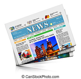 Heap of newspapers with business news isolated on white...