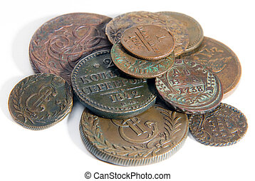 Heap of old copper coins