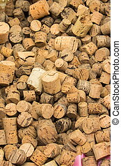 Heap of old wine corks as background