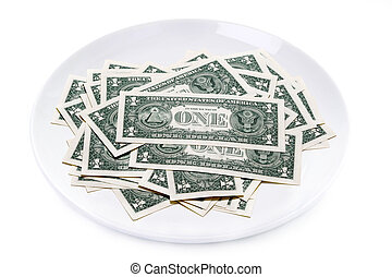 one dollar bills on a plate isolated