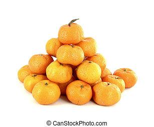 heap of oranges on white background