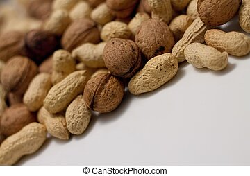 Heap of peanuts and walnuts - Picture of heap of peanuts and...