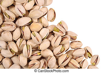 Heap of pistachios on a white background