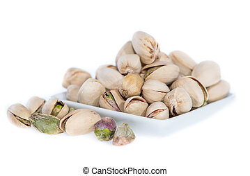 Heap of Pistachios on white
