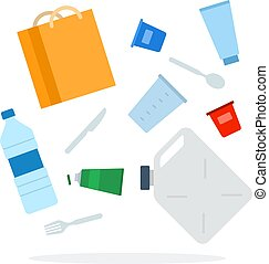Heap of plastic waste vector flat isolated