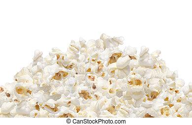 Heap of popcorn isolated on white background