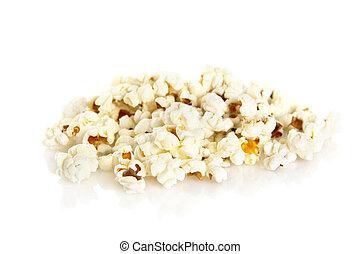 Heap of popcorn on white background