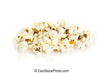 Heap of popcorn on white background