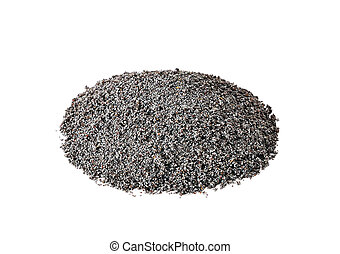 Heap of poppy seeds on a white