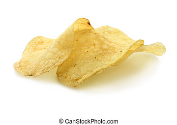 Heap of potato chips on a white background