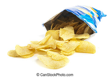 crisps - heap of potato crisps on white background