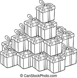 heap of presents for coloring - Cartoon Illustration of Heap...
