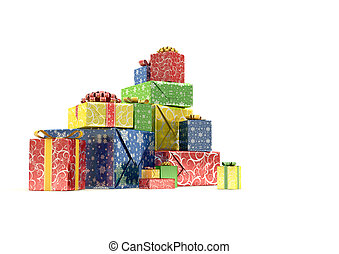 Isolated pile of gift-boxes