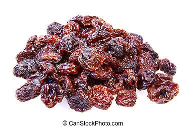 Heap of raisin on white background