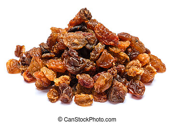Heap of raisins isolated on white background