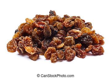 Heap of raisins on white background