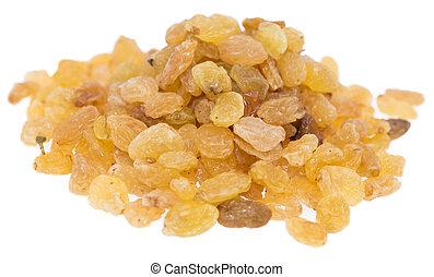 Heap of Raisins on white