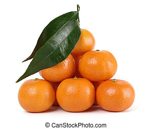 Heap of ripe mandarins, isolated over white