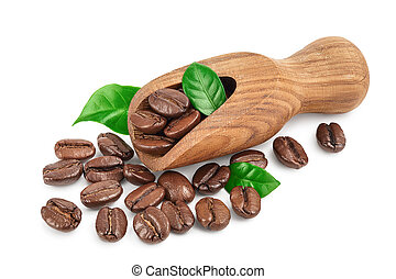 Heap of roasted coffee beans in wooden scoop with leaves isolated on white background with clipping path and full depth of field