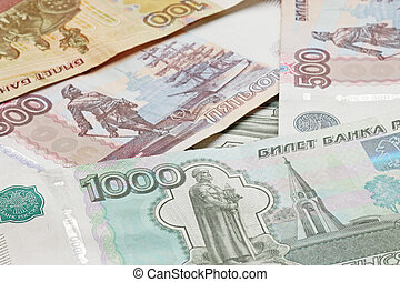 heap of Russian Federation banknote