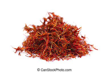 Heap of saffron isolated on white