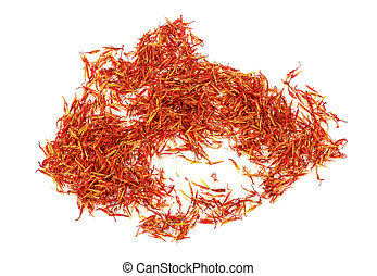 Heap of saffron isolated on white background. Top view.