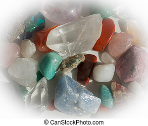 Heap of semi-precious stones - aventurine, quartz, calcite,...