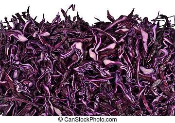 Heap of sliced red cabbage on a white