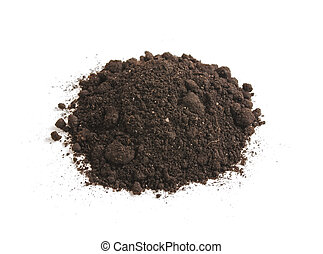 Heap of soil humus, isolated on a white background. Pile black earth.