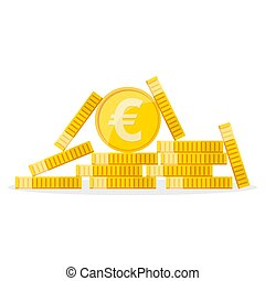 Heap of the golden euro coins. Vector illustration. - Heap...