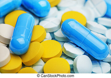 Heap of the medicine pills. Background made from colorful ...