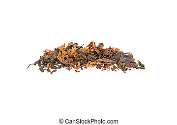 heap of tobacco on a white background, isolated.