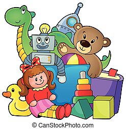 Heap of toys - eps10 vector illustration.